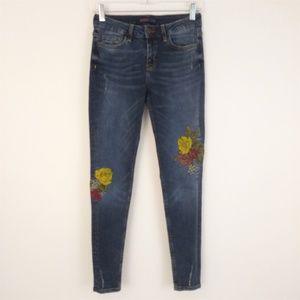 Zara Basic Z1975 Floral Embroidered Skinny Jeans 2